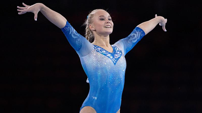 Angelina Melnikova, pictured here in action at the world gymnastics championships.