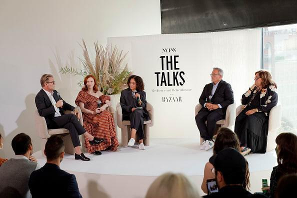 """<div class=""""inline-image__caption""""><p>(L-R) Adam Lippes, Karen Elson, Samira Nasr, Ivan Bart, and Fern Mallis speak during """"Resilience And Remembrance: New York 20 Years After 9/11.""""</p></div> <div class=""""inline-image__credit"""">Michael Loccisano/Getty Images for NYFW: The Shows</div>"""