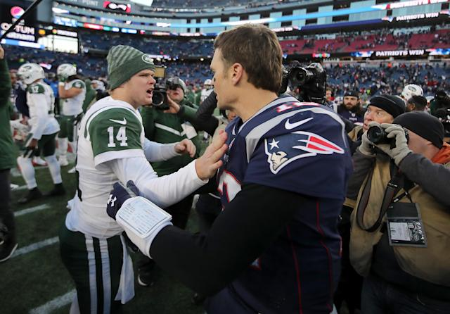 Jets quarterback Sam Darnold is looking to improve upon an 0-2 record against Tom Brady and the Patriots. (Getty Images)