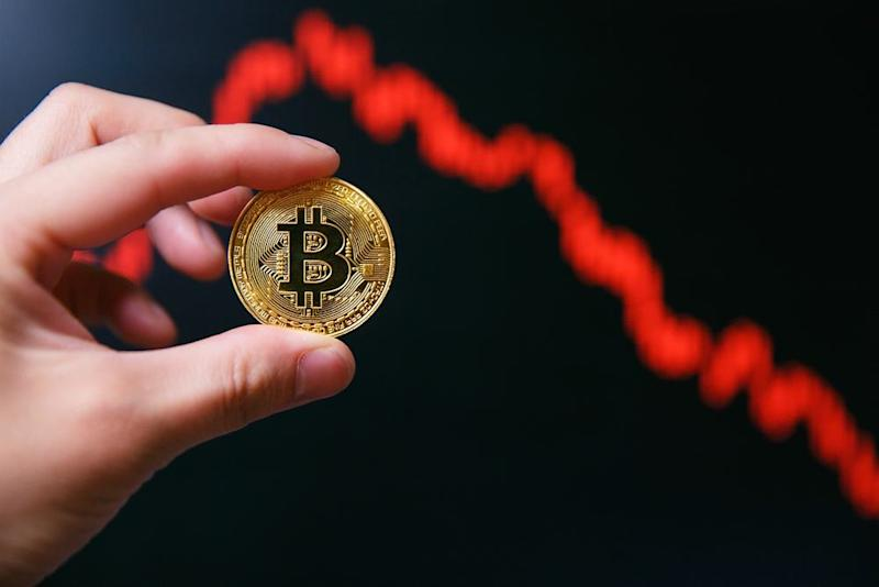 Bitcoin makes a hasty retreat under $8,000 after a month of soaring gains in May. | Source: Shutterstock