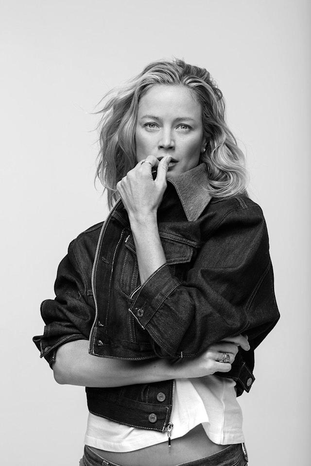 <p>Carolyn Murphy wears the Levi's x karla Oversized Crop. (Photo: Courtesy of Levi's) </p>