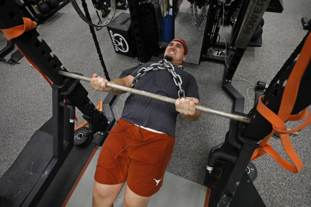 Texas Longhorns' Zach Shackelford works out Wednesday Sept. 4, 2019 in Austin, Tx. ( Photo by Edward A. Ornelas )