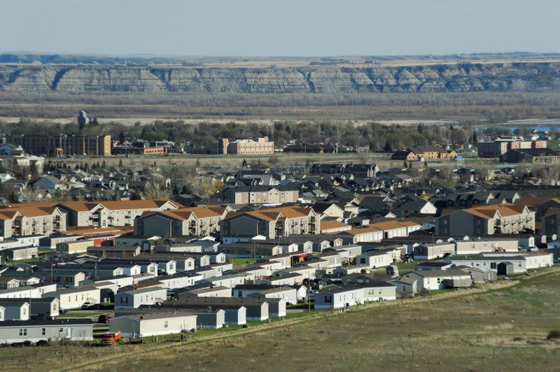 FILE PHOTO: A trailer park that was developed during the Bakken oil boom is seen in Williston