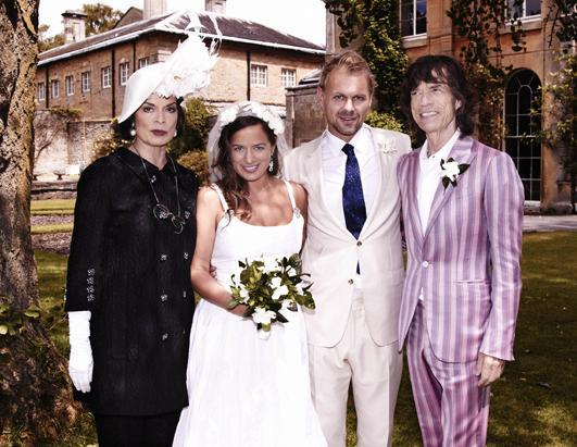 """Jade Jagger, 2nd left, is shown at her wedding to Adrian Fillary, 2nd right, with her parents Bianca Jagger and Mick Jagger at Aynhoe Park, Banbury, England, Saturday June 30, 2012 photo. See more on Hollywood romances on """"20/20: Lovestyles of the Rich & Famous"""" Friday, Sept. 7 at 9 p.m. ET, part of two full hours of """"20/20."""""""