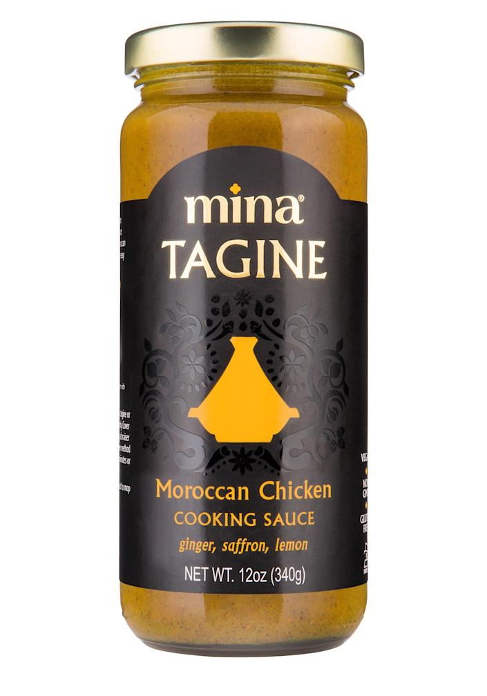 """<p>Slow-cooked with ginger, turmeric and saffron, the rich simmer sauce tastes home-made — but<br>is ready in just minutes.</p> <p><strong>Buy it!</strong> $7; <a href=""""https://www.amazon.com/Mina-Tagine-Moroccan-Chicken-Sauce/dp/B06XSYSL2P"""" rel=""""sponsored noopener"""" target=""""_blank"""" data-ylk=""""slk:amazon.com"""" class=""""link rapid-noclick-resp"""">amazon.com</a></p>"""