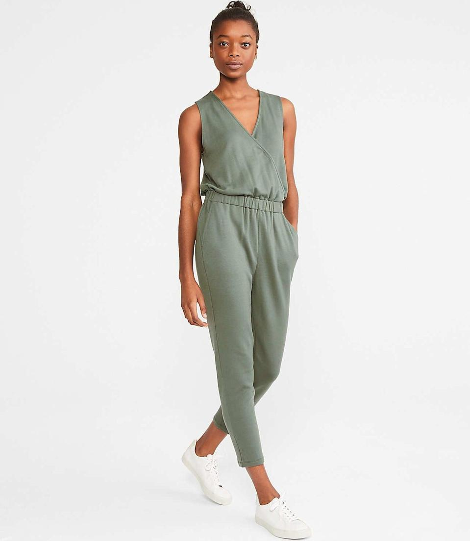 """<p>This <a href=""""https://www.popsugar.com/buy/Lou-amp-Grey-Signaturesoft-Plush-Crossover-Jumpsuit-579195?p_name=Lou%20%26amp%3B%20Grey%20Signaturesoft%20Plush%20Crossover%20Jumpsuit&retailer=louandgrey.com&pid=579195&price=90&evar1=fab%3Aus&evar9=47524904&evar98=https%3A%2F%2Fwww.popsugar.com%2Ffashion%2Fphoto-gallery%2F47524904%2Fimage%2F47525080%2FLou-Grey-Signaturesoft-Plush-Crossover-Jumpsuit&list1=shopping%2Cjumpsuits%2Cfashion%20shopping%2Crompers%2Ccomfortable%20clothes&prop13=mobile&pdata=1"""" class=""""link rapid-noclick-resp"""" rel=""""nofollow noopener"""" target=""""_blank"""" data-ylk=""""slk:Lou &amp; Grey Signaturesoft Plush Crossover Jumpsuit"""">Lou &amp; Grey Signaturesoft Plush Crossover Jumpsuit</a> ($90) is perfect for running errnads or just hanging around the house.</p>"""