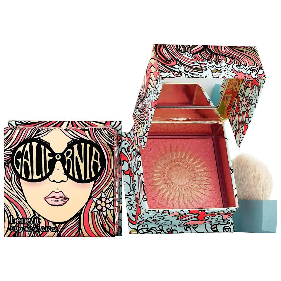 """<p><strong>Benefit Cosmetics</strong></p><p>sephora.com</p><p><strong>$30.00</strong></p><p><a href=""""https://go.redirectingat.com?id=74968X1596630&url=https%3A%2F%2Fwww.sephora.com%2Fproduct%2Fgalifornia-blush-P418014&sref=https%3A%2F%2Fwww.harpersbazaar.com%2Fbeauty%2Fmakeup%2Fg5352%2Fbest-blush%2F"""" rel=""""nofollow noopener"""" target=""""_blank"""" data-ylk=""""slk:Shop Now"""" class=""""link rapid-noclick-resp"""">Shop Now</a></p><p>A golden highlighter meets a nearly-red blush in one cute little compact. Just one swipe gives medium-to-dark skin tones all the glow and warmth of summer—even in the dead of winter.</p>"""