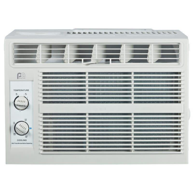This air conditioner is meant for smaller spaces and includes two-way air direction, two speeds and rotary dials for temperature settings. It has a 4.6-star rating with 100 reviews. <span>Find it for $170 at Wayfair</span>.