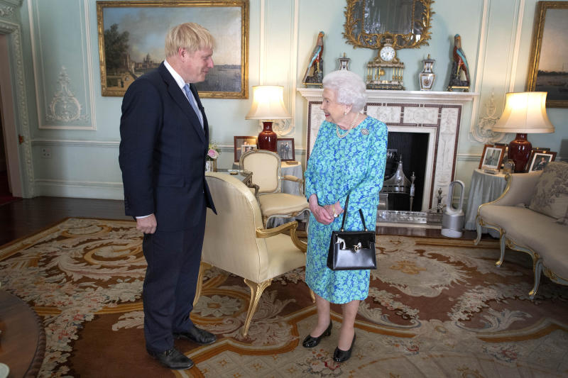 File photo dated 24/07/19 of Queen Elizabeth II welcoming newly elected leader of the Conservative party Boris Johnson during an audience in Buckingham Palace, London. As the UK leaves the EU at 11pm on Friday, the Queen will be at Sandringham, her private estate in Norfolk, where she is spending her annual winter break.