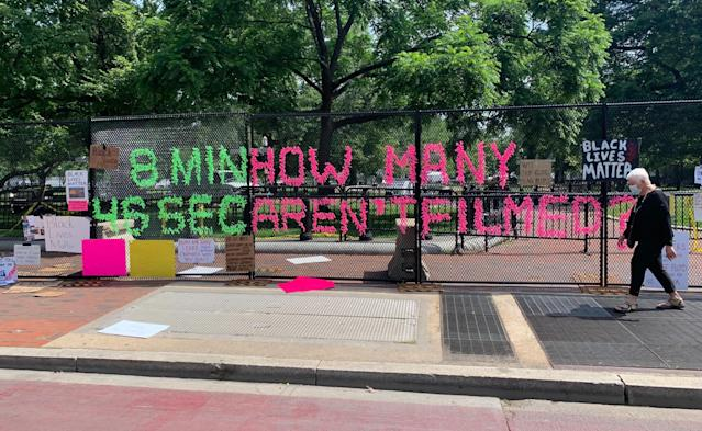 A message from protesters on fencing around the White House on Tuesday. (Brittany Shepherd)