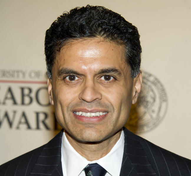 "FILE - This May 21, 2012 file photo shows columnist and TV host Fareed Zakaria attending the 71st Annual Peabody Awards in New York. Zakaria is apologizing for lifting paragraphs by another writer for use in his column in Time magazine. Zakaria said in a statement Friday, Aug. 10, he made a ""terrible mistake"" and termed it ""entirely my fault."" Time magazine said it has suspended his column for one month pending further review. Media reporters had cited similarities between passages in Zakaria's column about gun control that appeared in Time's Aug. 20 issue, and paragraphs from an article by Harvard University history professor Jill Lepore published in April in The New Yorker magazine. (AP Photo/Charles Sykes, file)"