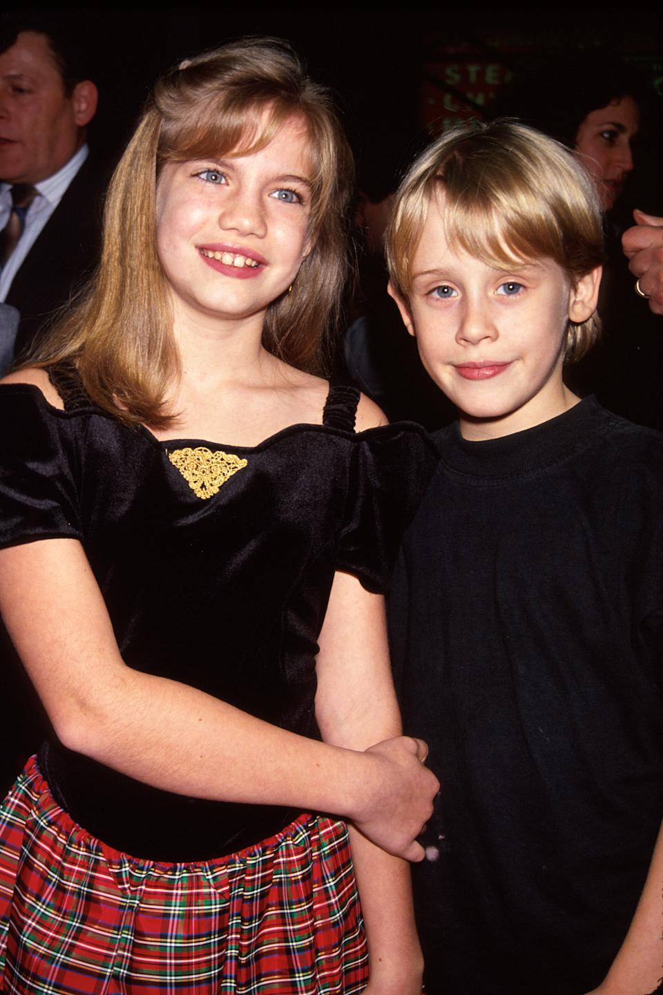 Actors Anna Chlumsky and Macaulay Culkin at film premiere of their My Girl. (Photo by Time Life Pictures/DMI/The LIFE Picture Collection via Getty Images)