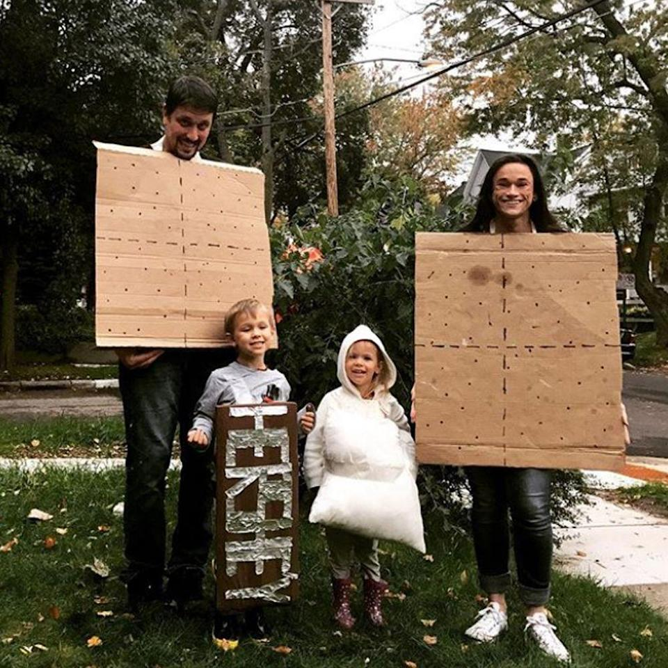 """<p>For a sweet idea, the parents can be the graham crackers and the kids can go as chocolate and marshmallows!</p><p><a class=""""link rapid-noclick-resp"""" href=""""https://www.amazon.com/s?k=hersey+bar+costume&crid=3U45KFVRE2USX&sprefix=HERSEY++costumes%2Caps%2C202&ref=nb_sb_ss_i_3_15&tag=syn-yahoo-20&ascsubtag=%5Bartid%7C2089.g.22530616%5Bsrc%7Cyahoo-us"""" rel=""""nofollow noopener"""" target=""""_blank"""" data-ylk=""""slk:SHOP THE LOOKS"""">SHOP THE LOOKS</a></p><p><strong>Instagram:</strong> <a href=""""https://www.instagram.com/p/Ba90KwmHFyU/?taken-by=lularoeamandadanley"""" rel=""""nofollow noopener"""" target=""""_blank"""" data-ylk=""""slk:@lularoeamandadanley"""" class=""""link rapid-noclick-resp"""">@lularoeamandadanley</a><br></p>"""