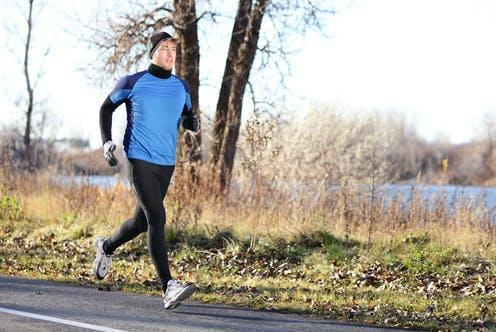 "<span class=""caption"">Exercise improves physical health, immunity, and can reduce fatigue.</span> <span class=""attribution""><a class=""link rapid-noclick-resp"" href=""https://www.shutterstock.com/image-photo/male-runner-man-running-autumn-on-148056548"" rel=""nofollow noopener"" target=""_blank"" data-ylk=""slk:Maridav/ Shutterstock"">Maridav/ Shutterstock</a></span>"