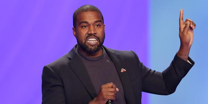 "FILE - Kanye West answers questions during a service at Lakewood Church Sunday, Nov. 17, 2019, in Houston. West says he is no longer a Trump supporter. The rapper, who once praised President Donald Trump, tells Forbes in a story published Wednesday that he is ""taking the red hat off"" — a reference to Trump's trademark red ""Make America Great Again"" cap. West also insisted that his weekend announcement that he's running for President was not a stunt to drum up interest in an upcoming album. (AP Photo/Michael Wyke, File)"