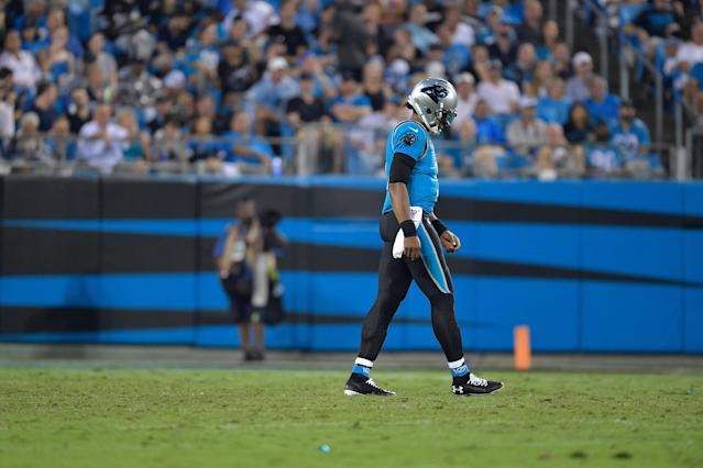 Cam Newton struggled on Thursday and the Panthers fell to 0-2. (Getty Images)