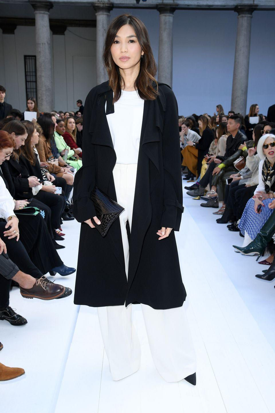 <p>Wearing MaxMara, Chan attended the designer's Autumn/Winter 20/21 show during Milan Fashion Week.</p><p>The actress wore an all white co-ord with a contrasting black duster Mac and matching black croc clutch to finish off the look. </p>