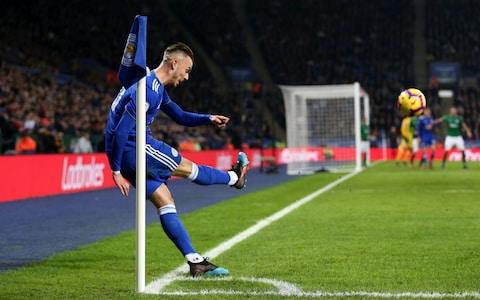 Leicester City's James Maddison takes a corner during the Premier League match at the King Power Stadium - Credit: PA