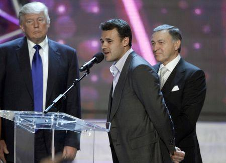 FILE PHOTO: Russian singer Emin Agalarov (C) speaks as his father Aras Agalarov and Donald Trump (L), co-owner of the Miss Universe Organization, look on during a news conference after the 2013 Miss USA pageant at the Planet Hollywood Resort and Casino in Las Vegas, Nevada June 16, 2013. REUTERS/Steve Marcus