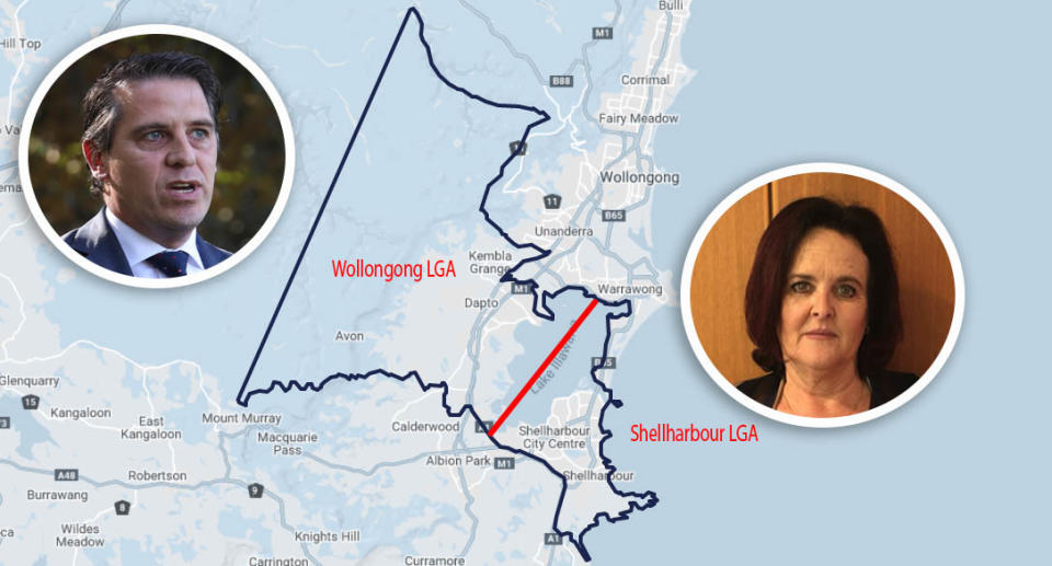 Pictures of Labor MP's Ryan Park (left) and Anna Watson (right) over a map of the Shellharbour electorate. Source: NSW Electoral Commission (map)
