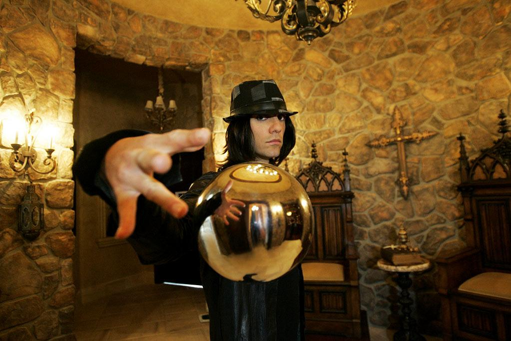 """Criss Angel levitates a crystal ball during the filming of season six of """"Criss Angel Mindfreak."""""""
