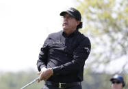 Phil Mickelson watches his tee shot on the sixth hole during round-robin play at the Dell Technologies Match Play Championship golf tournament, Thursday, March 28, 2019, in Austin, Texas. (AP Photo/Eric Gay)