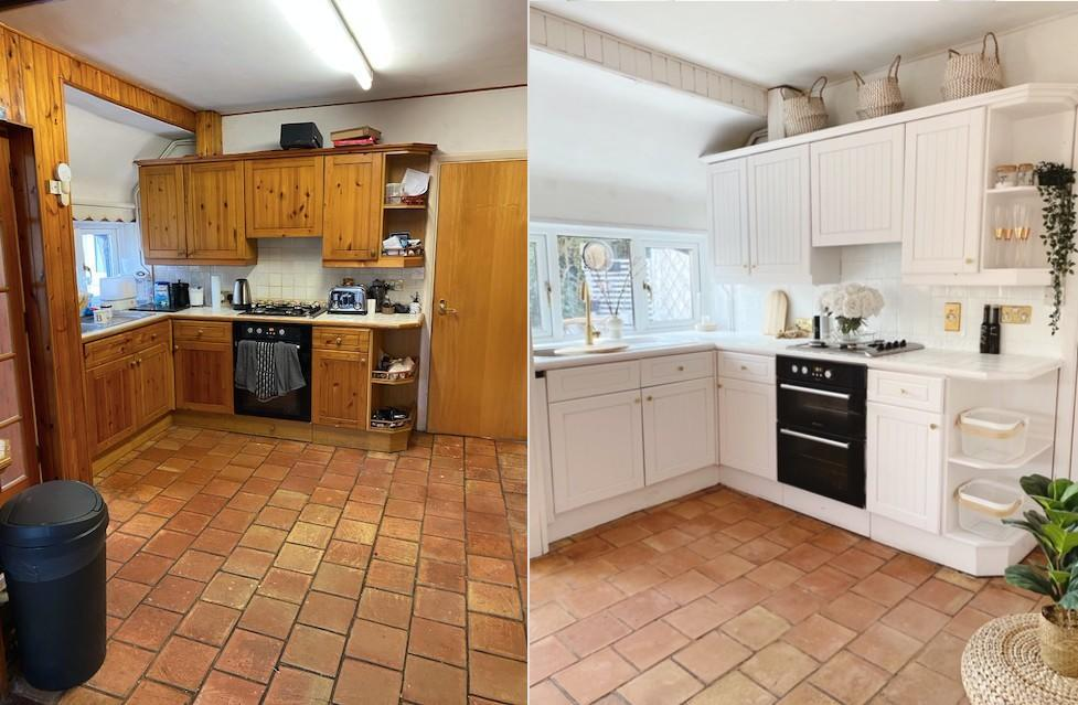 A mum has managed to transform her kitchen for just £100. (Supplied Tap Warehouse/@21Oakham)