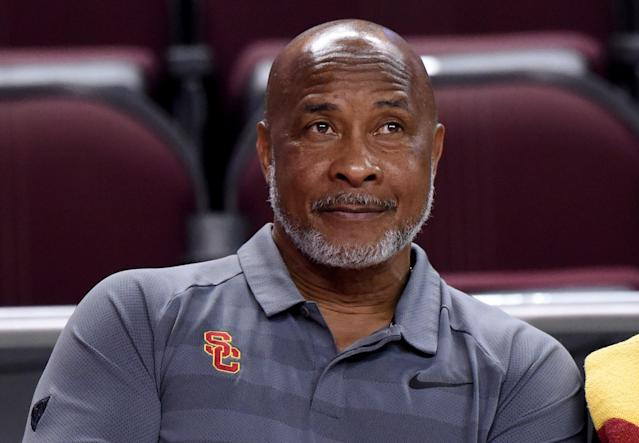 Lynn Swann is shown during an NCAA basketball game. Swann abruptly resigned as USC athletic director on Monday. (Getty)