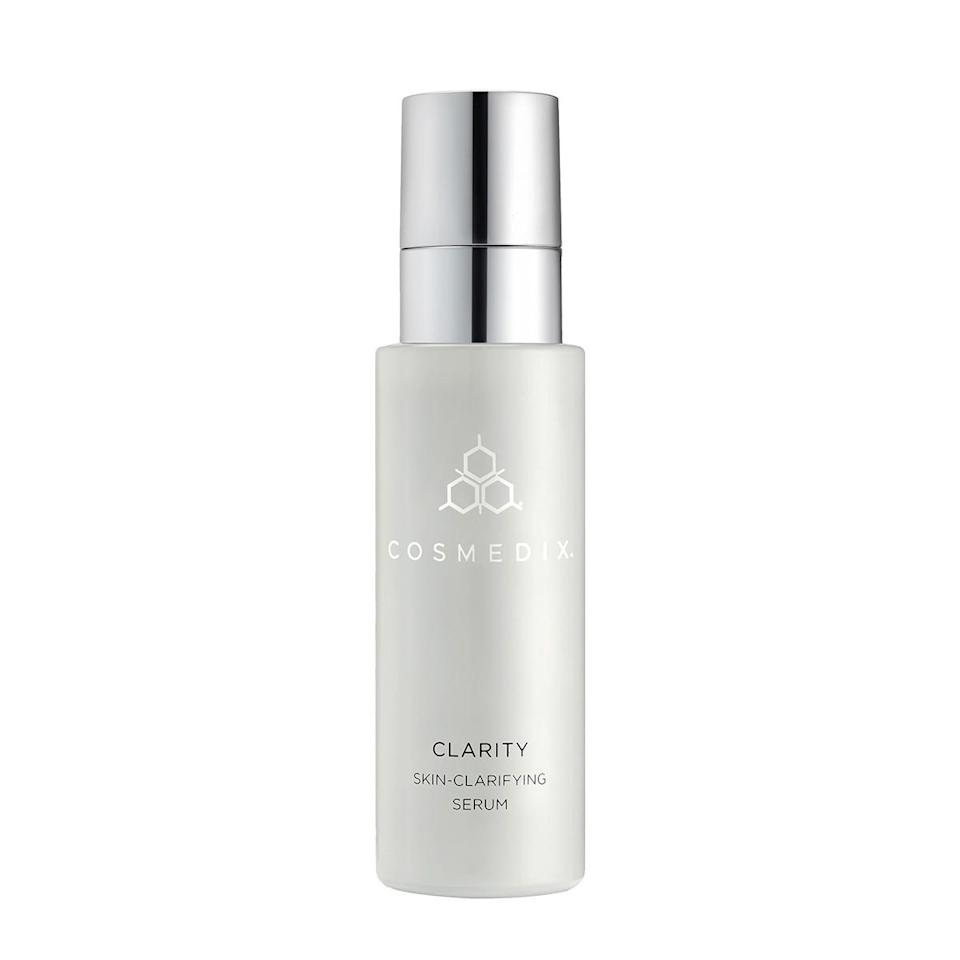 """This serum is a solid bet for those who are working to simultaneously banish a dull complexion and zits: Retinol and niacinamide join forces to brighten, while salicylic acid helps sweep away dead skin cells and address acne. <br> <br> <strong>Cosmedix</strong> Clarity Skin-Clarifying Serum, $, available at <a href=""""https://go.skimresources.com/?id=30283X879131&url=https%3A%2F%2Fwww.cosmedix.com%2Fclarity-30-ml"""" rel=""""nofollow noopener"""" target=""""_blank"""" data-ylk=""""slk:Cosmedix"""" class=""""link rapid-noclick-resp"""">Cosmedix</a>"""