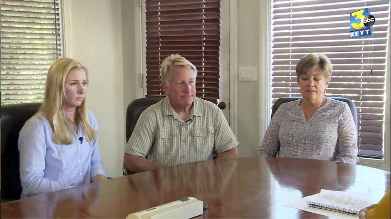 FILE - In this Sept. 5, 2019, file photo from video provided by KEYT-TV, the owners of Truth Aquatics and the dive boat Conception, Glen and Dana Fritzler, right, and their daughter Ashley, left, during an interview with News Channel Three's Beth Farnsworth in Santa Barbara, Calif. The family of the lone crew member to die in a fiery scuba boat disaster that killed all 33 passengers off the Southern California coast last year sued the vessel's owner Monday, Jan. 13, 2020, in federal court. The lawsuit by the family of Allie Kurtz claims the owners of the Conception knew the boat was unsafe and lacked required smoke detectors and fire equipment. (KEYT-TV via AP, File)