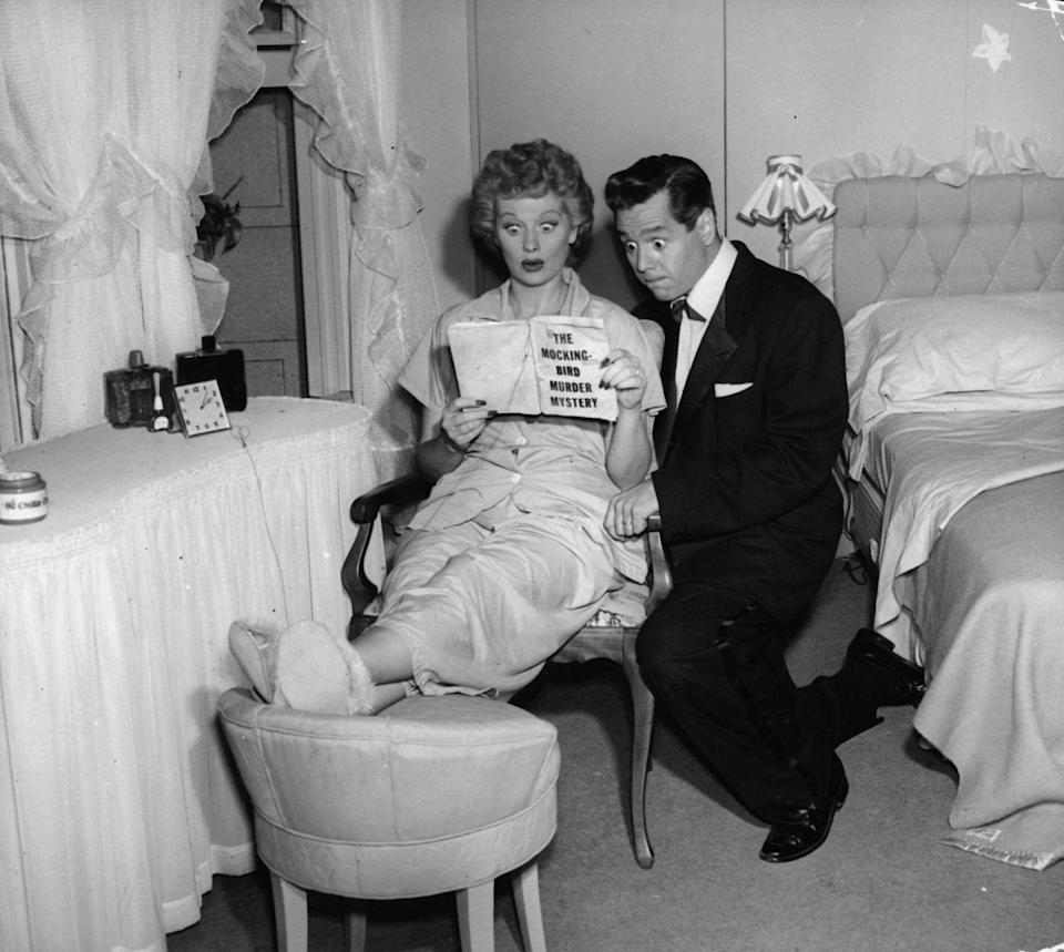 """<p>All the set designer's had to do was swap out some furniture, and the Ricardos' bedroom <a href=""""http://www.ilovelucysuperstore.com/ilovelucy.html"""" rel=""""nofollow noopener"""" target=""""_blank"""" data-ylk=""""slk:became the Mertz living room"""" class=""""link rapid-noclick-resp"""">became the Mertz living room</a> (a common cost-saving TV trick). </p>"""