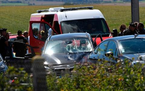 The BMW involved in the attack - Credit: PHILIPPE HUGUEN/AFP/Getty Images