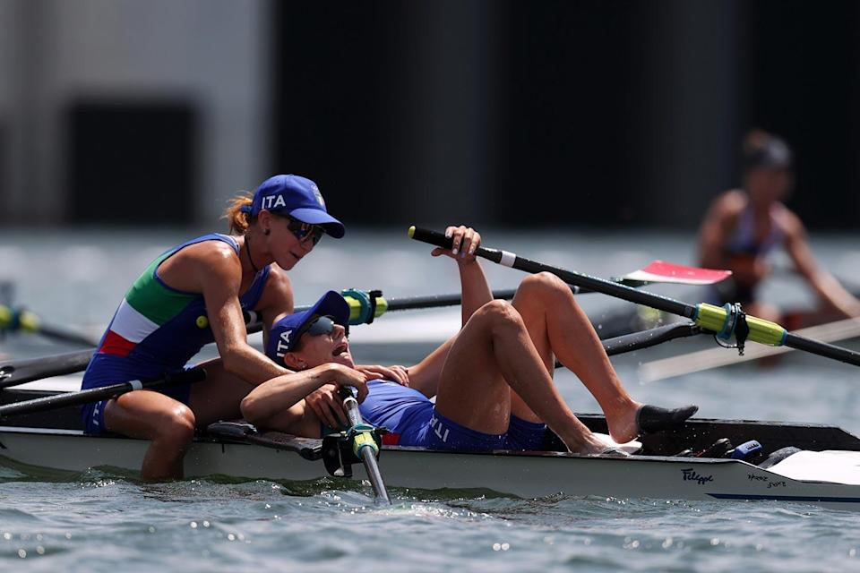 <p>Federica Cesarini and Valentina Rodini of Team Italy are stunned after winning the gold medal during the Lightweight Women's Double Sculls Final A at Sea Forest Waterway on July 29.</p>