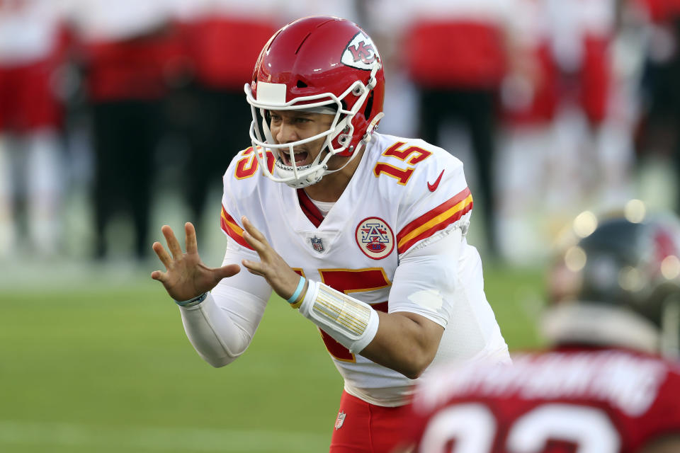 Kansas City Chiefs quarterback Patrick Mahomes (15) calls a cadence against the Tampa Bay Buccaneers during the first half of an NFL football game Sunday, Nov. 29, 2020, in Tampa, Fla. (AP Photo/Mark LoMoglio)