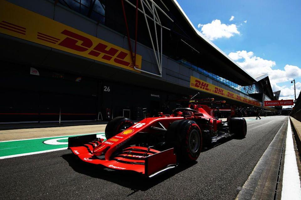 <p>Charles Leclerc of Monaco driving the (16) Scuderia Ferrari SF1000 in the Pitlane during qualifying for the F1 Grand Prix of Great Britain at Silverstone on August 01, 2020 in Northampton, England.</p>