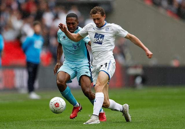 Soccer Football - National League Promotion Final - Tranmere Rovers v Boreham Wood - Wembley Stadium, London, Britain - May 12, 2018 Tranmere Rovers' Eddie Clarke in action with Boreham Woods' Ricky Shakes Action Images/Matthew Childs