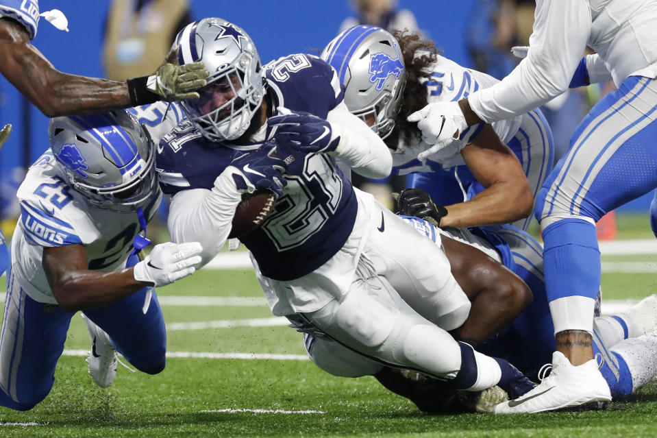 Dallas Cowboys running back Ezekiel Elliott said he's not frustrated by his lack of production in recent games. (AP/Rick Osentoski)