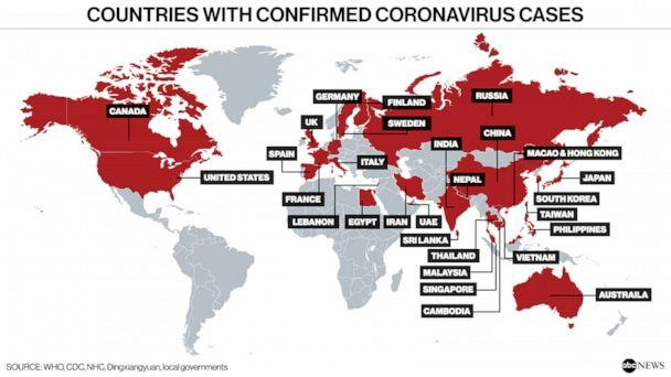 PHOTO: Countries with confirmed coronavirus cases ( WHO, CDC, NHC, Dingxiangyuan, local governments)