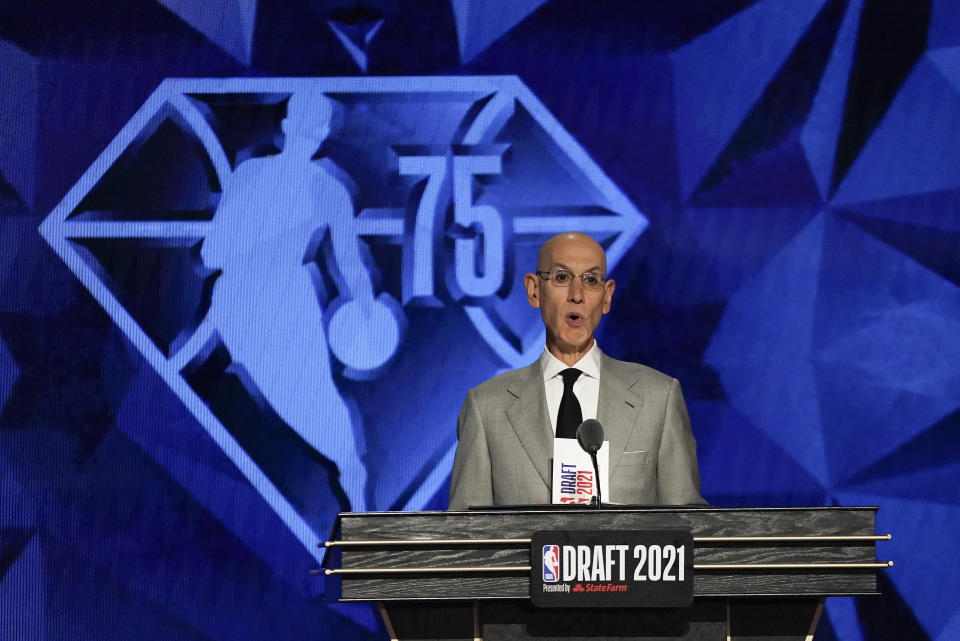 NBA Commissioner Adam Silver speaks at the start of the NBA basketball draft, Thursday, July 29, 2021, in New York. (AP Photo/Corey Sipkin)