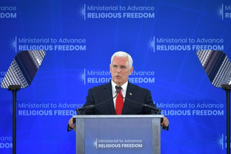 US Vice President Mike Pence addresses a ministerial meeting at the State Department on religious freedom