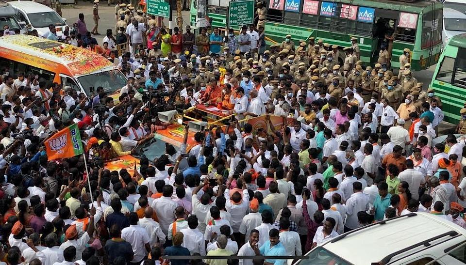 The yatra is seen as an attempt by the BJP to consolidate Hindu votes in the state ahead of the Assembly elections in 2021.