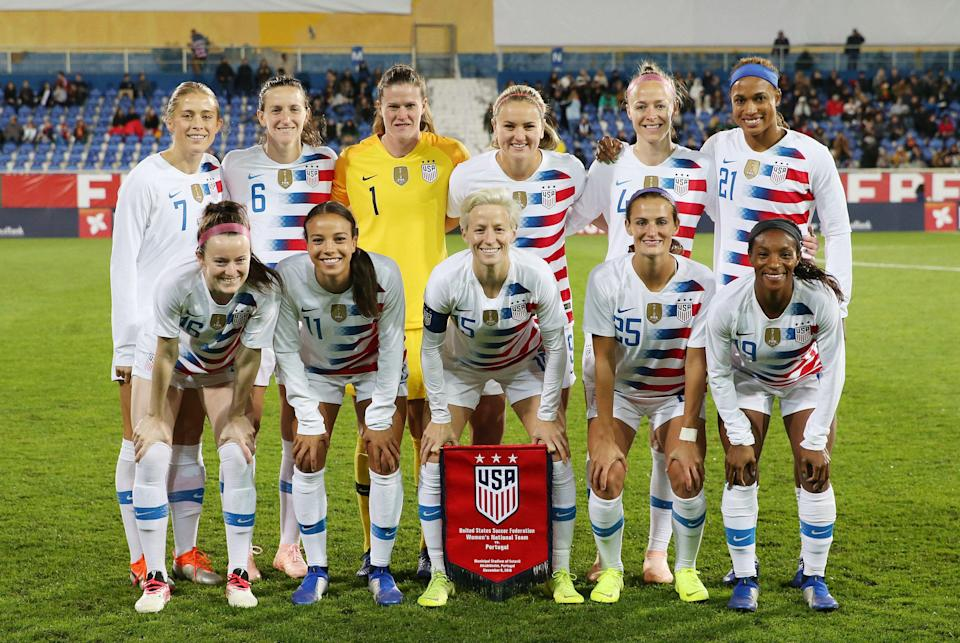 The 28-player U.S. women's national soccer team filed a gender discrimination lawsuit against the U.S. Soccer Federation in court on Friday. (Photo by Gualter Fatia/Getty Images)