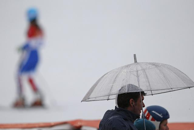 France's Anemone Marmottan finishes the first run of the women's giant slalom at the Sochi 2014 Winter Olympics, Tuesday, Feb. 18, 2014, in Krasnaya Polyana, Russia. (AP Photo/Christophe Ena)