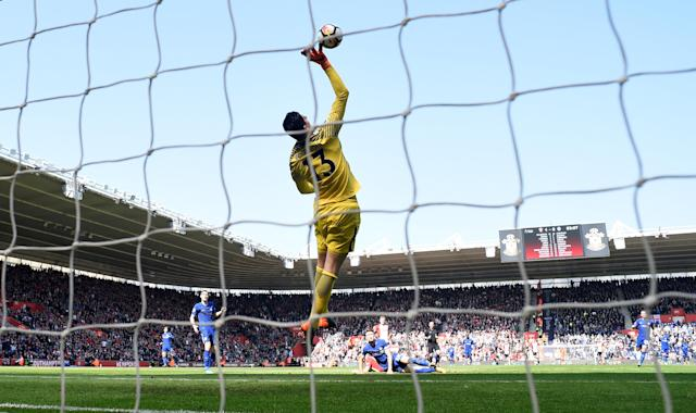 """Soccer Football - Premier League - Southampton vs Chelsea - St Mary's Stadium, Southampton, Britain - April 14, 2018 Chelsea's Thibaut Courtois makes a save Action Images via Reuters/Tony O'Brien EDITORIAL USE ONLY. No use with unauthorized audio, video, data, fixture lists, club/league logos or """"live"""" services. Online in-match use limited to 75 images, no video emulation. No use in betting, games or single club/league/player publications. Please contact your account representative for further details."""