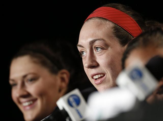 Connecticut forward Breanna Stewart, right, answers a question during a news conference at the NCAA women's Final Four college basketball tournament Monday, April 7, 2014, in Nashville, Tenn. At left is Stefanie Dolson. Connecticut is scheduled to face Notre Dame in the championship game Tuesday. (AP Photo/John Bazemore)