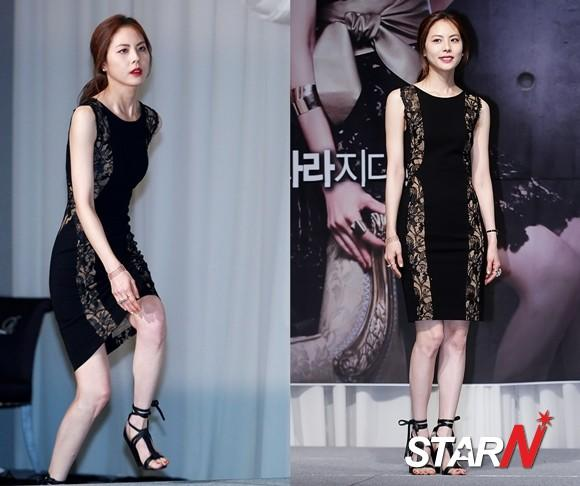 Park Jiyoon draws people's attention with an illusion dress