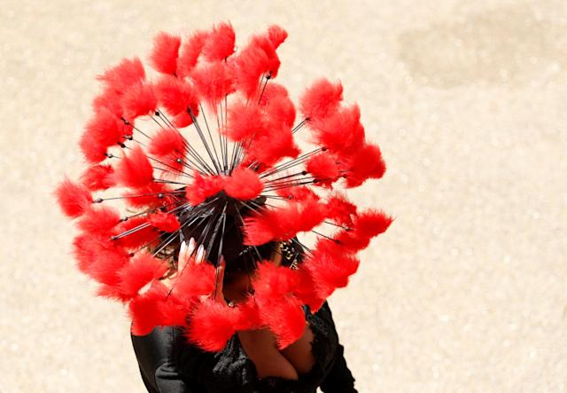 Horse Racing - Royal Ascot - Ascot Racecourse, Ascot, Britain - June 21, 2018 A racegoers before the start of the racing Action Images via Reuters/Andrew Boyers