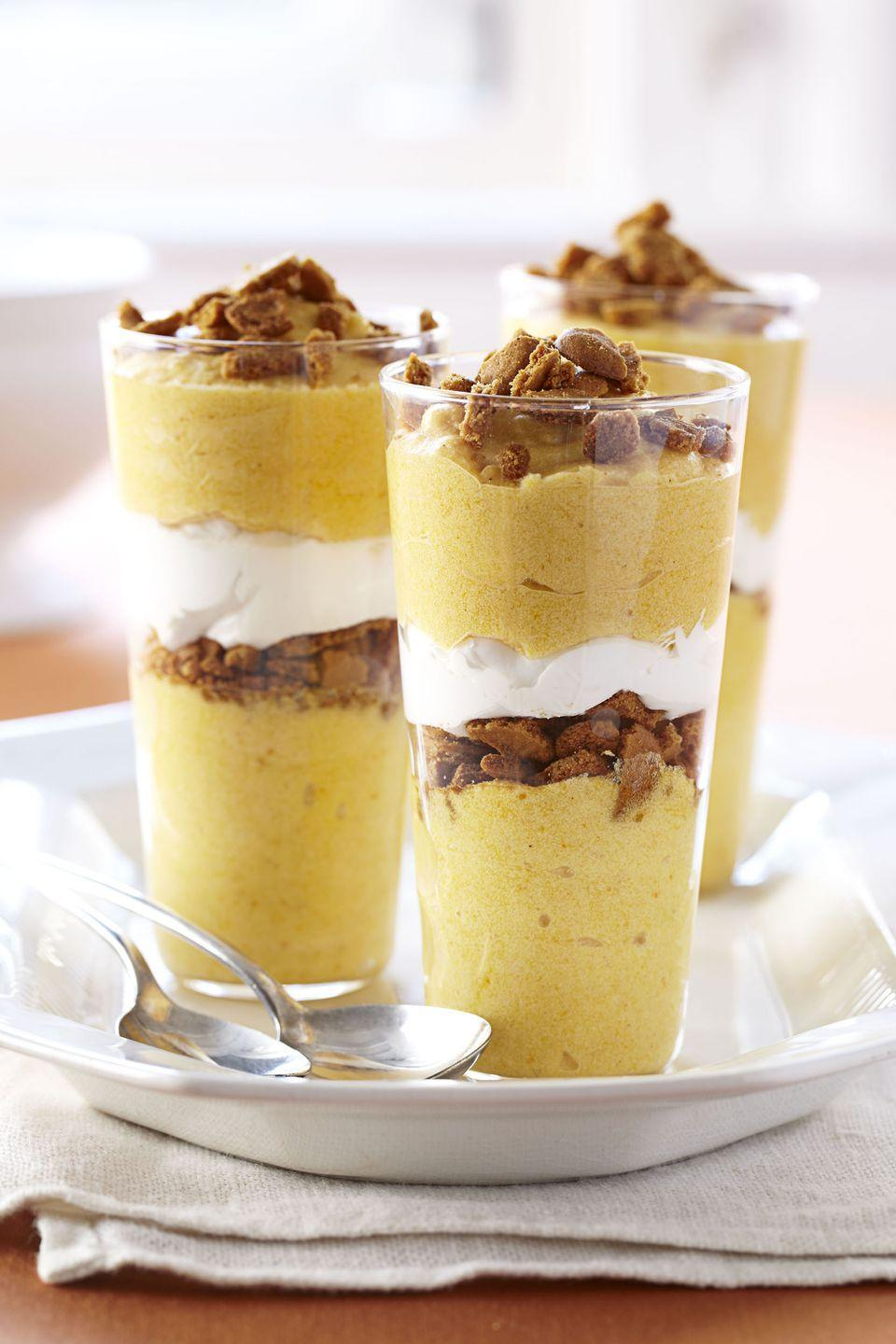 "<p>If assembling <a href=""https://www.goodhousekeeping.com/food-recipes/g3986/pumpkin-pie-recipes/"" rel=""nofollow noopener"" target=""_blank"" data-ylk=""slk:a pie"" class=""link rapid-noclick-resp"">a pie</a> is too much work (we feel ya!), keep it simple with these 30-minute parfaits. </p><p><em><a href=""https://www.goodhousekeeping.com/food-recipes/a11085/pumpkin-mousse-parfaits-recipe-ghk1111/"" rel=""nofollow noopener"" target=""_blank"" data-ylk=""slk:Get the recipe for Pumpkin Mousse Parfaits »"" class=""link rapid-noclick-resp"">Get the recipe for Pumpkin Mousse Parfaits »</a></em></p>"