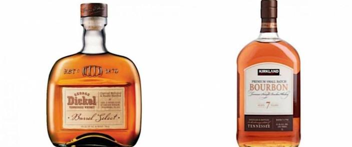 George Dickel bourbon and Kirkland Signature bourbon