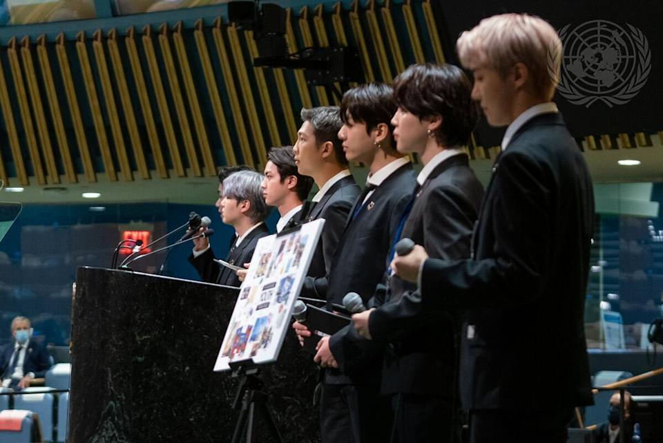 BTS, Special Presidential Envoy for Future Generations and Culture of the Republic of Korea, appear at the United Nations on Monday, Sept. 20, 2021. / Credit: Cia Pak/UN